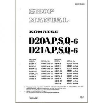 Komatsu Oman  Bulldozer D21P-6 D21P 6 Service Repair  Shop Manual