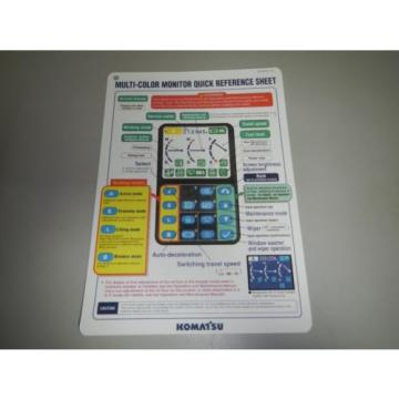 Komatsu Netheriands Excavator Multi Color Monitor Display Quick Reference Sheet Guide