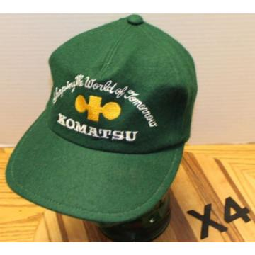 "VINTAGE Guinea  KOMATSU ""SHAPING THE WORLD OF TOMORROW"" GREEN WOOL HAT ZIP STRAP ADJUST"
