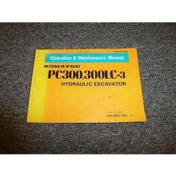 Komatsu Gambia  PC300-3 PC300LC-3 Hydraulic Excavator Owner Operator Manual S/N 12601-Up