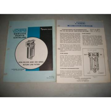 VICKERS Swaziland  HYDRAULICS OFM-100, 200,300  RETURN LINE FILTERS SERVICE PARTS CATALOG